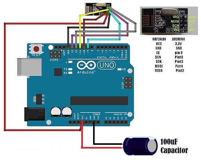 Schema di collegamento tra Arduino e il modulo nRF24L01+ con condensatore